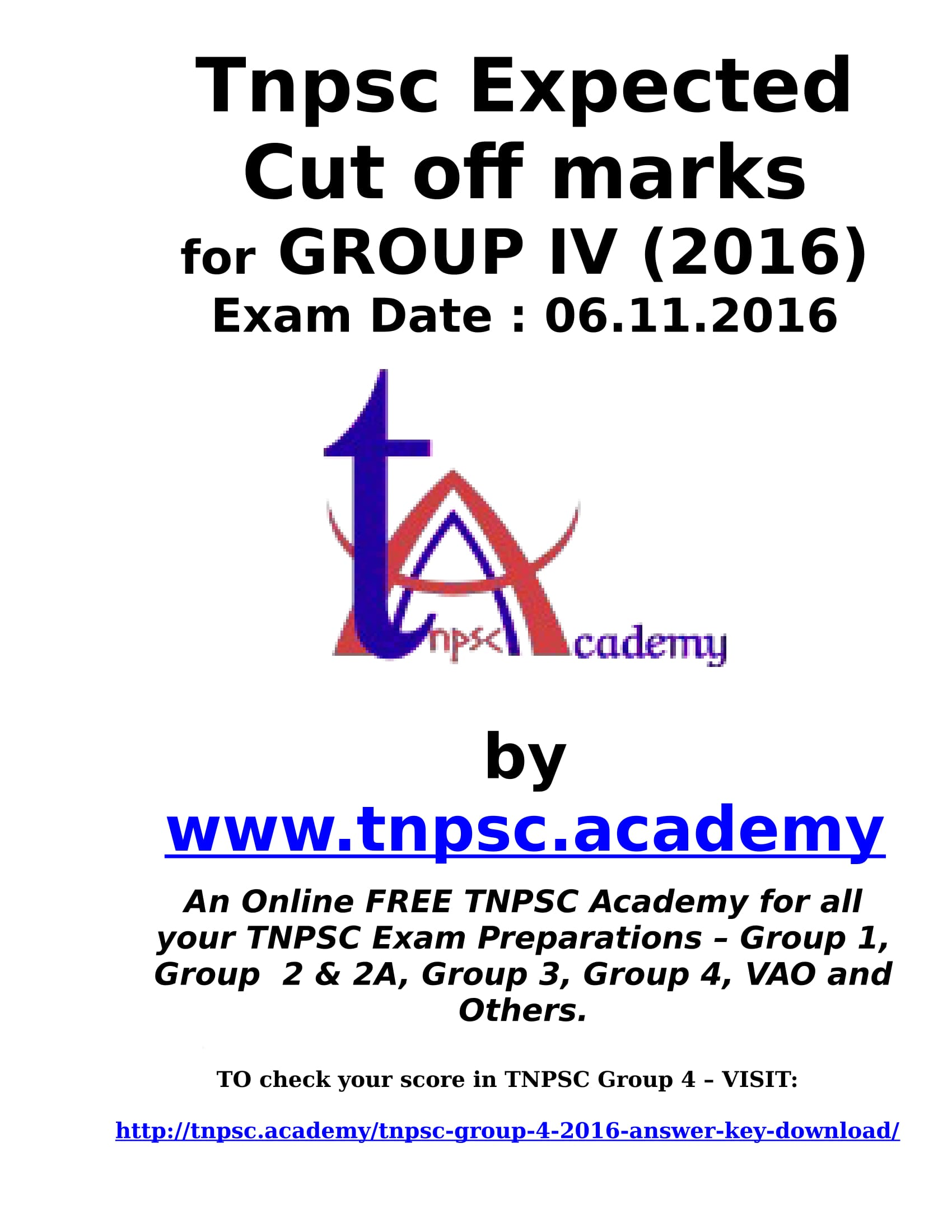 TNPSC Group 4 expected cut off marks 2016