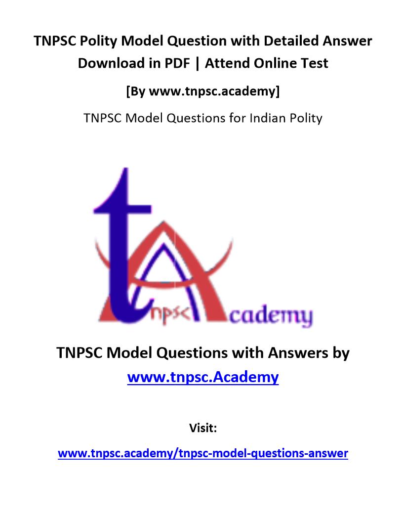 TNPSC Polity Questions